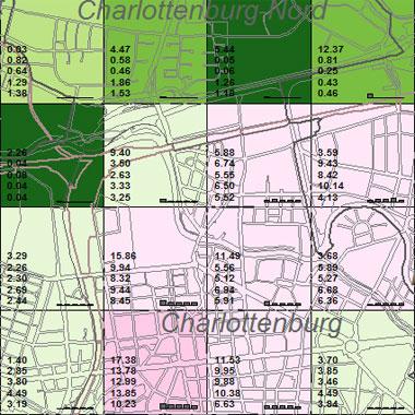 Vorschaugrafik zu Datensatz 'Entwicklung Luftqualität NOx-Gesamtemissionen 2002 (Umweltatlas)'