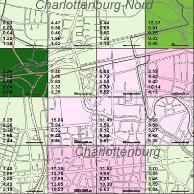 Vorschaugrafik zu Datensatz 'Entwicklung Luftqualität NOx-Gesamtemissionen 2005 (Umweltatlas)'